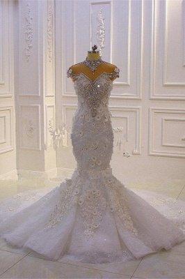 Délicate sans manches perles pure Tulle Appliques sirène robes de mariée scintillantes_1