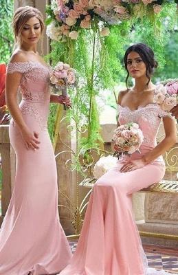 Elegant Blushing-Pink Off-the-Shoulder Lace-Appliques Long Bridesmaid Dresses_1