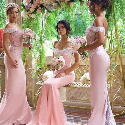 Elegante Rosa Schulterfrei Spitze-Applikationen Brautjungfernkleider | Lange Brautjungfernkleider Meerjungfrau_3