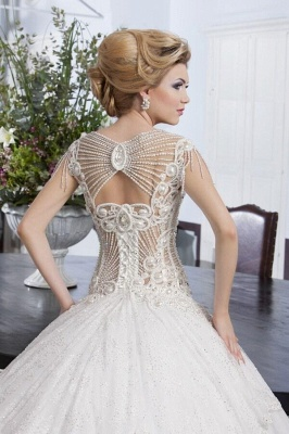 Glamorous Beaidngs Cap Sleeve Wedding Dress 2018 Tulle Ball Gown