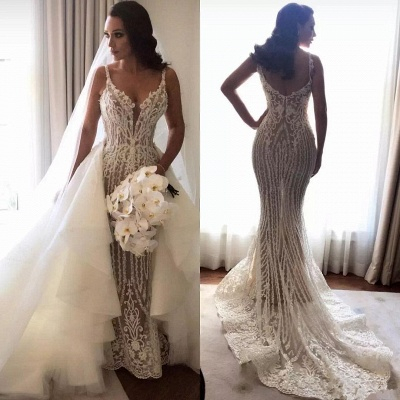 Gorgeous Lace Mermaid Wedding Dresses Cheap with Detachable Train | Straps Sexy Sleeveless Bride Dress_4