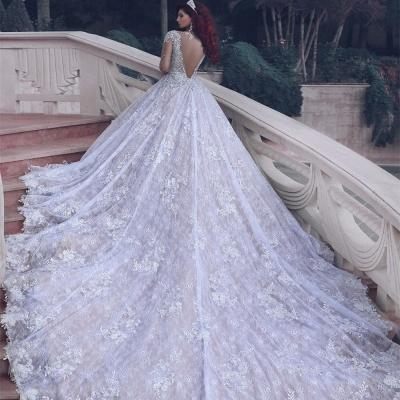 Vintage cristal musulman perles de perles robe de mariée en dentelle pure-train cathédrale_2