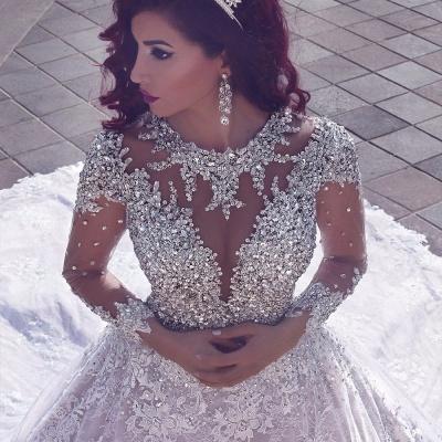 Vintage cristal musulman perles de perles robe de mariée en dentelle pure-train cathédrale_3