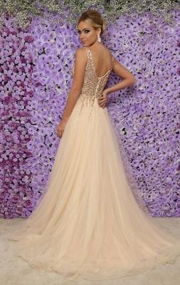 Vestidos de noche largos sin mangas con cuello en V sexy | 2021 Tulle Crystal Side Slit Vestidos de baile baratos_3