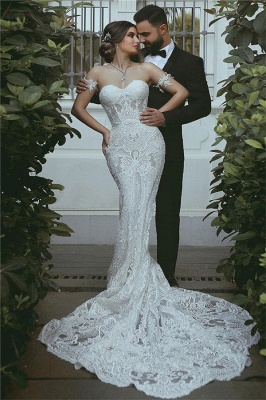 Mermaid Lace Wedding Dress Cheap | Sexy Court Train Sweetheart Bridal Gowns with Sleeve Decorations_1