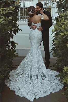 Mermaid Lace Wedding Dress | Sexy Court Train Sweetheart Bridal Gowns with Sleeve Decorations_3