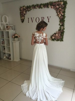 Elegante apliques de encaje vestido de novia gasa larga dividida_3