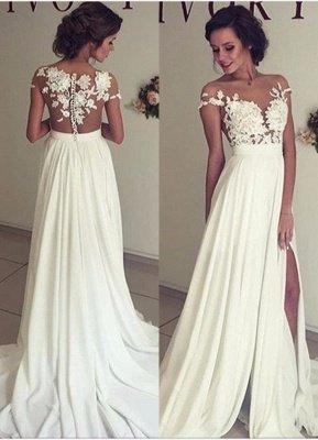 أنيقة الرباط يزين فستان الزفاف طويل سبليت الشيفون_1