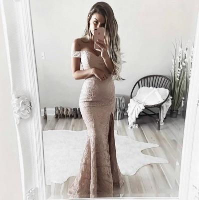 Schlichte Spitze Abendkleider Schulterfrei | Sexy Side Schlitz Abendkleider BA6243_4