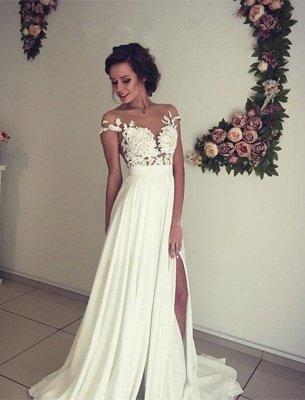 Elegant Lace Appliques Wedding Dress Long Chiffon Split_5