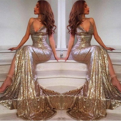 V-Neck Sequins Prom Dress | Mermaid Evening Dress With Slit_3