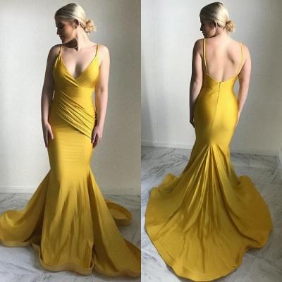 Robe de soirée élégante à col en V   2021 Robe de bal sirène jaune_3