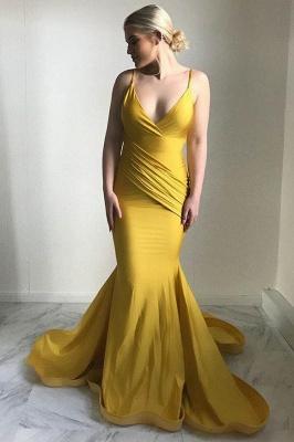Robe de soirée élégante à col en V   2021 Robe de bal sirène jaune_1
