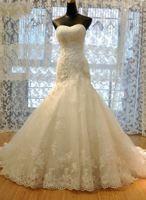 Sweetheart-Neck Ruched Lace Beading Lace-Up Back Flowers Mermaid Wedding Dresses