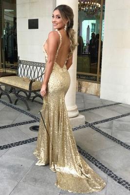 Sexy Pailletten Meerjungfrau Ärmelloses Abendkleid | Gold Abendkleid_4