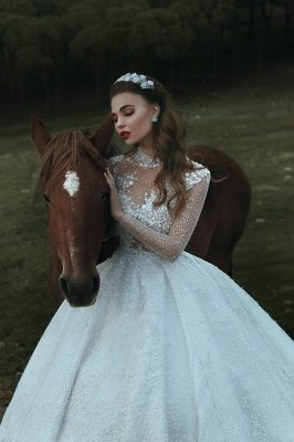 High Neck Sparkly Sequins Vintage Wedding Dresses | Roayl Long Sleeve Dresses for Weddings