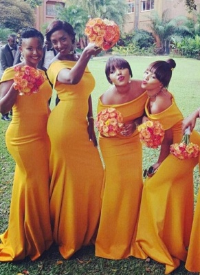 Chic Yellow Mermaid Bridesmaid Dresses | Off-the-Shoulder Wedding Party Dress_1