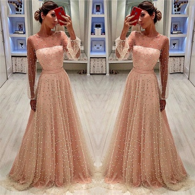See Through Tulle Bubble Sleeves Prom Dress | Full Beading Long Sleeve Evening Dresses BC0617_3