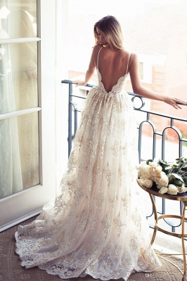 Full Lace Open Back Wedding Dresses Sexy Spaghetti Straps Summer Wedding Gowns_3