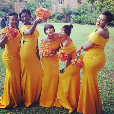 Chic Yellow Mermaid Bridesmaid Dresses | Off-the-Shoulder Wedding Party Dress_3