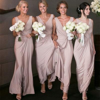 Elegantes V-Ausschnitt Brautjunfer Kleid Billig | Langes Brautjungferkleid Online Kaufen BA7824_4