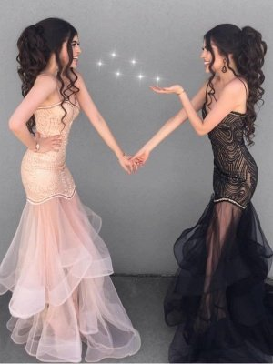 Sexy Sheath V-neck Spaghetti Straps Prom Dress | Tulle See Through Skirt Evening Dress