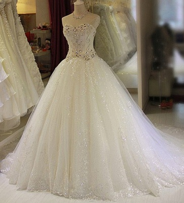 Sparkly Beaded Wedding Dresses | Sweetheart Sleeveless Lace Appliques Bridal Dresses