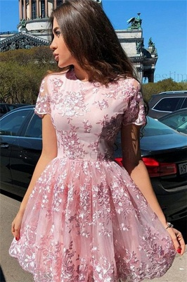 Gorgeous Pink Short Sleeves Homecoming Dresses Cheap | Lace Appliques Short Hoco Dresses_1