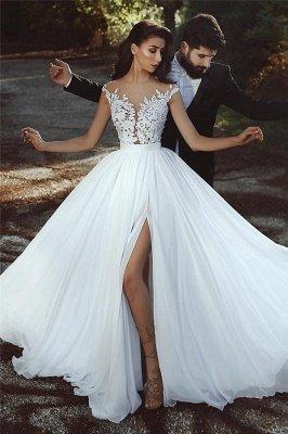 Apliques de renda Chiffon casamento vestidos Sexy | Front Slit pura noiva vestido_1