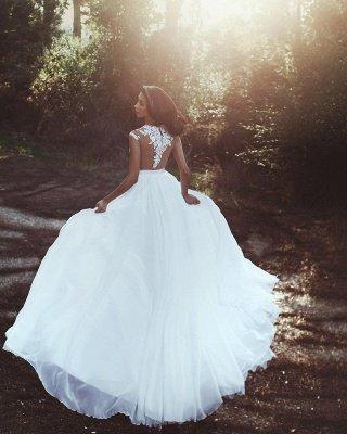 Apliques de renda Chiffon casamento vestidos Sexy | Front Slit pura noiva vestido_3