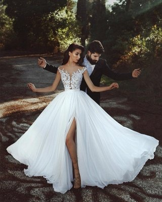 Кружева Appliques Шифоновые свадебные платья Sexy | Front Slit sheer Дешевое платье для невесты_2