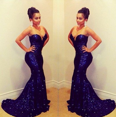 Sparkly Sequined Prom Dress Sweetheart Sequined Mermaid Sexy Evening Gowns with Train_2