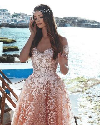 Exquisitos vestidos de fiesta una línea de flores   Apliques de cuentas fuera del hombro vestidos de noche_3