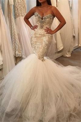 Glamorous Fit and Flare Tulle Wholesale Wedding Dresses | Lace Sweetheart Crystal Bridal Gowns_1