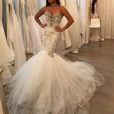 Glamorous Fit and Flare Tulle Wholesale Wedding Dresses | Lace Sweetheart Crystal Bridal Gowns_3