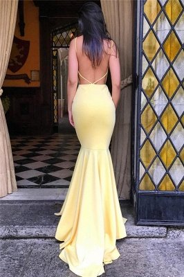 Backless Mermaid Yellow Formal Sexy Evening Gown |  Sleeveless Sheath  Party Dress  FB0354_4
