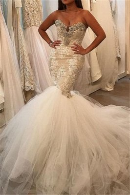 Glamorous Fit and Flare Tulle Wholesale Wedding Dresses | Lace Sweetheart Crystal Bridal Gowns