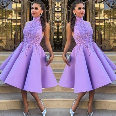 High Neck Lavender Lace Appliques Sexy Evening Gowns | Sleeveless Knee Length  Formal Evening Dresses_3