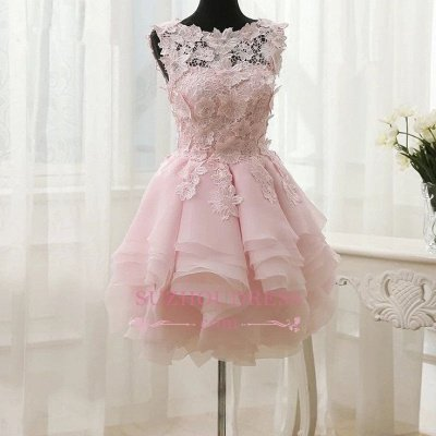 Sleeveless Cute Short Flowers Straps Ruffles Homecoming Dress