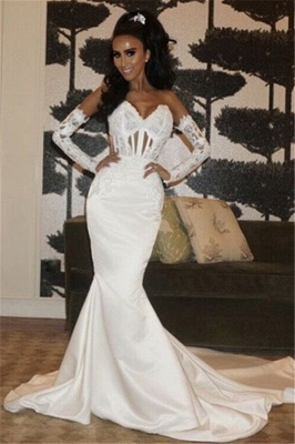 Fit and Flare Satin Elegant Wedding Dresses | Wholesale Sweetheart Lace-Up Bridal Gowns_1