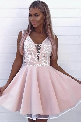 Gorgeous Pink Sleeveless Short Homecoming Dresses  | Appliques  Cheap Homecoming Dress