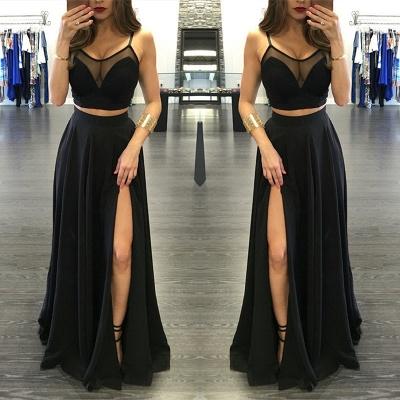 Sexy Black Illusion Two Piece Prom Dress Front Split Spaghetti Strap BA3973_3