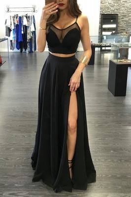 Sexy Black Illusion Two Piece Prom Dress Front Split Spaghetti Strap BA3973_1