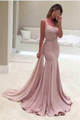 Elegant One-Shoulder Backless Mermaid Crystal Ruffles Prom Dress