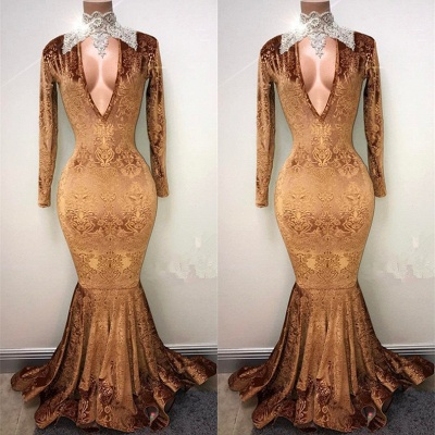 Gold-V-neck Mermaid Prom Dress, Lace Evening Gowns On Sale_3