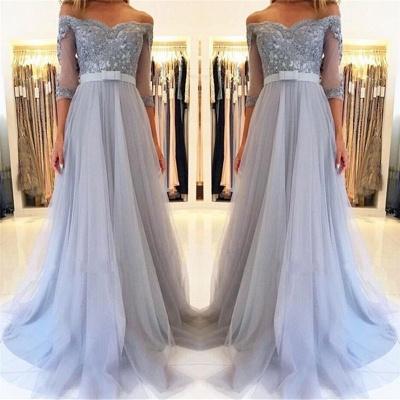 Off The Shoulder Half Sleeve Evening Dresses | Formal Lace Appliques Prom Dress with Belt_4