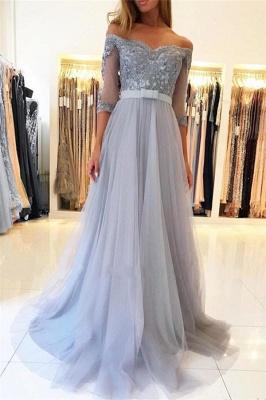 Off The Shoulder Half Sleeve Evening Dresses | Formal Lace Appliques Prom Dress with Belt_1