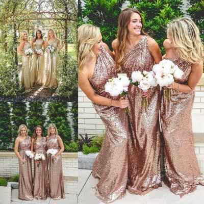 One Shoulder Shiny Sequins Bridesmaid Dresses Long Dress for Maid of Honor_4
