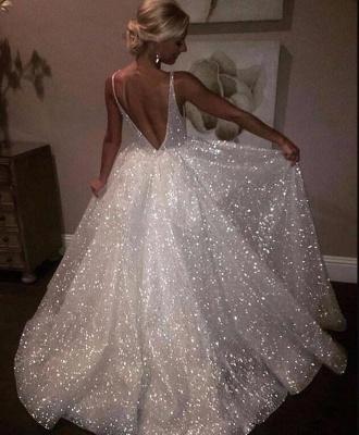 Bling aberto de volta vestidos de baile sem mangas   A linha de vestidos de noite brilhantes_1