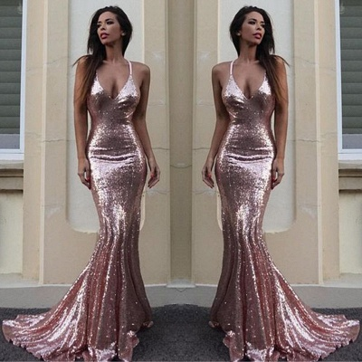 Gorgeous Sequins V-Neck Mermaid Sequins Prom Dress_2